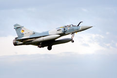 Mirage 2000. VOLKEL, THE NETHERLANDS - OCTOBER 4: French Air Force Mirage 2000 jetfighter arriving at the NATO Tigermeet 2010 October 4, 2010 in Volkel, The Stock Photo