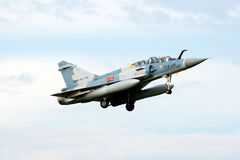 Mirage 2000. VOLKEL, THE NETHERLANDS - OCTOBER 4: French Air Force Mirage 2000 jetfighter arriving at the NATO Tigermeet 2010 October 4, 2010 in Volkel, The Royalty Free Stock Photography
