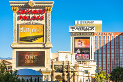 The Mirage, Caesars Palace and other resorts on the strip. Stock Photo