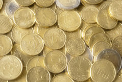 Mirage of euro coins. Background of euro coins mirage effect Stock Photo
