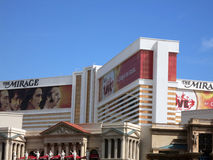 The Mirage hotel and Casino with ad for Beatles show wrapping wi Royalty Free Stock Photos