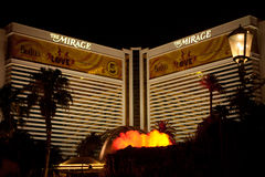 The Mirage Hotel/Casino at night Royalty Free Stock Images