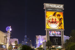 The Mirage Hotel sign at night in Las Vegas, NV on August 29, 20 Stock Photo