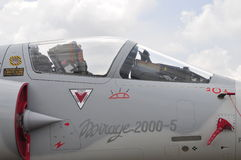Mirage 2000-5 jet fighter cockpit close-up. Royalty Free Stock Photography