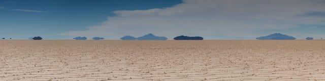 Mirage of mountains at Salar de Uyuni Royalty Free Stock Photo
