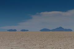 Mirage of mountains at Salar de Uyuni Royalty Free Stock Images