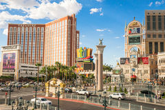 The Mirage, Treasure Island and Venetian signs Royalty Free Stock Images