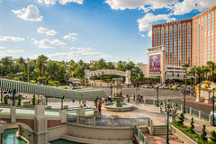 The Mirage, Treasure Island and Venetian signs view from fountain Royalty Free Stock Image
