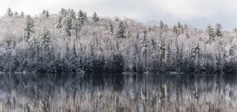 Mirage on water, stillness in winter forests.  Reflections on still lake water. Royalty Free Stock Photos