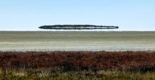 A miragem da miragem olha como o UFO acima do deserto foto de stock