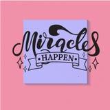 Mirakel händer bokstäver Hand tecknad vektorillustration beståndsdel för reklamblad, baner och affischer Modern kalligrafi stock illustrationer