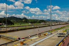 Miralflores locks at the Panama Canal. Miralflores locks at the Panama Canal in Panama royalty free stock photo