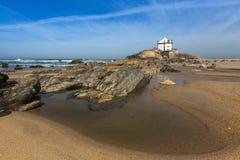 Miramar Beach and Chapel Senhor da Pedra, Atlantic ocean near Porto Stock Photo
