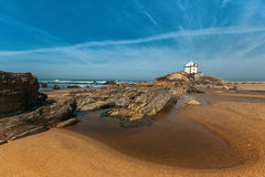 Miramar Beach and Chapel Senhor da Pedra, Atlantic ocean near Porto Royalty Free Stock Photos