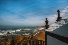 Miramar Beach and Chapel Senhor da Pedra, Atlantic ocean near Porto Stock Photography