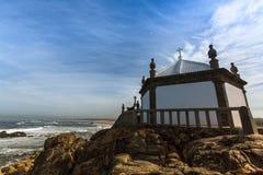 Miramar Beach and Chapel Senhor da Pedra, Atlantic ocean near Porto, Stock Images
