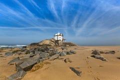 Miramar Beach and Chapel Senhor da Pedra, Atlantic ocean near Porto Stock Photos