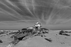 Miramar Beach and Chapel Senhor da Pedra, Atlantic ocean near Porto, Portugal. Royalty Free Stock Image