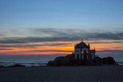 Miramar Beach and Chapel Senhor da Pedra at night time Royalty Free Stock Photo