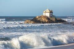 Miramar Beach Praia de Miramar and chapel Senhor da Pedra, Vila Nova de Gaia, Portugal.church Royalty Free Stock Photo