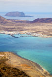 Miramar del rio harbor rock beach  boat     in lanzarote spain Royalty Free Stock Photos