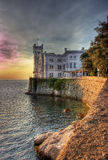 Miramare Castle. Sunset view of Miramare Castle on the Adriatic Sea in Triest, Italy Stock Photo
