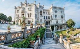 Miramare castle near Trieste, northeastern Italy. MIRAMARE CASTLE, ITALY - AUGUST 8, 2018: Miramare castle near Trieste, northeastern Italy. Travel destination royalty free stock photo