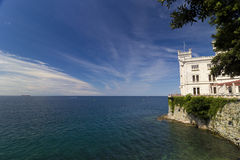 Miramare Castle and the sea Royalty Free Stock Photo