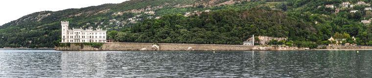 Miramare Castle from the sea, Trieste  Italy Stock Images