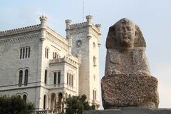 Miramare Castle with a Sphinx, Trieste Italy. Sculpure of a Sphinx in front of the Miramare Castle in Trieste Italy stock images