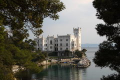 Miramare Castle, Trieste Italy. Miramare Castle in Trieste Italy, a white castle overhanging the sea Royalty Free Stock Photography