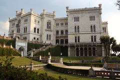 Miramare Castle in Trieste Italy. The Miramare Castle in Trieste Italy in an ornamental garden Royalty Free Stock Images