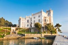 Miramare slott, Trieste, Italien, Europa. Arkivfoton