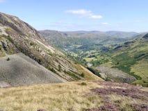 Mirando abajo al valle de Glenridding, distrito del lago Foto de archivo libre de regalías