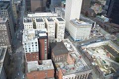 Mirando abajo de la plataforma de observación de Smith Tower, Seattle, Washington Foto de archivo