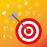 Mirando alla mente capa del cliente sistemi l'affare di concetto di vendita del mercato di obiettivo Fotografia Stock Libera da Diritti