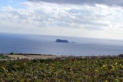 Mirando hacia fuera al mar la isla de Fifla, hacia fuera a través del campo y de campos Foto de archivo libre de regalías