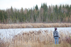 Mirando hacia fuera sobre un lago, Alberta Fotos de archivo