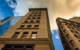 Mirando para arriba los edificios de oficinas en Boston céntrica, Massachusetts Fotografía de archivo
