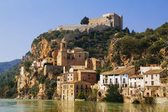 Miravet χωριό σε Catalunya, Ισπανία Στοκ φωτογραφία με δικαίωμα ελεύθερης χρήσης