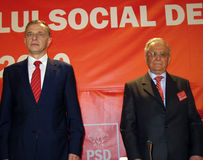 Mircea Geoana & Ion Iliescu Royalty Free Stock Photo