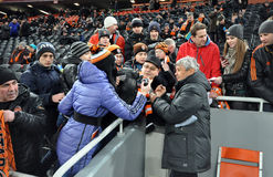 Mircea Lucescu is communicating with fans Stock Photo