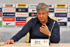 Mircea Lucescu comunicate with reporters Royalty Free Stock Photo