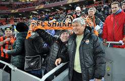 Mircea Lucescu and fan of Shakhtar Royalty Free Stock Photos