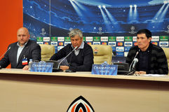 Mircea Lucescu and his assistants Royalty Free Stock Images