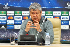 Mircea Lucescu speaks to reporters Stock Photos