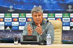 Mircea Lucescu speaks to reporters Stock Images