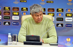 Mircea Lucescu is thinking Royalty Free Stock Photos