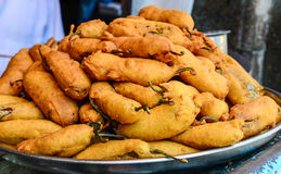 Mirchi Pakoda. Spicy snack prepared from Potatoes and chillies. A common street snack in Northern India Royalty Free Stock Photo