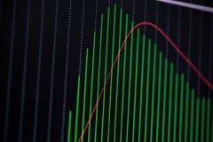 Mire al trasluz la carta del gráfico del palillo con el indicador que muestra el punto disparatado o Fotos de archivo